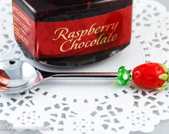 Red Strawberry Jelly Spoon, Handmade Lampwork Glass Bead, Stainless Steel Jam Spoon