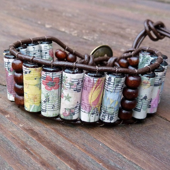 Floral Sheet Music Cuff Bracelet - Music Wood Beads, Brown Leather Bracelet
