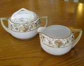 Antique Nippon Hand painted China Cream and Sugar Set White and Gold Christmas Ball Pattern Early 1900's