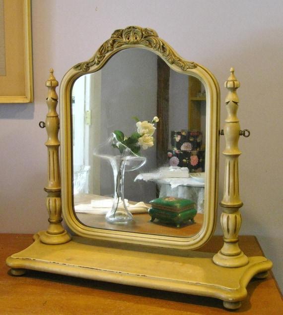 Vintage Wood Vanity Mirror Self Standing Adjustable Cream And
