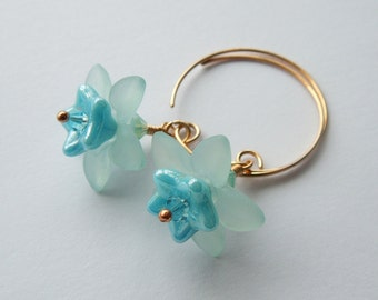 Chloe blue lucite Czech glass crystal and bronze flower earrings