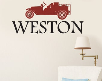 CUSTOM NAME Vintage Fire Truck Vinyl Sticker Decal Original Graphic by DECOmod Walls