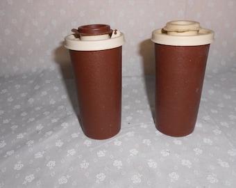 Tupperware Salt and Pepper Shakers w/brown lids