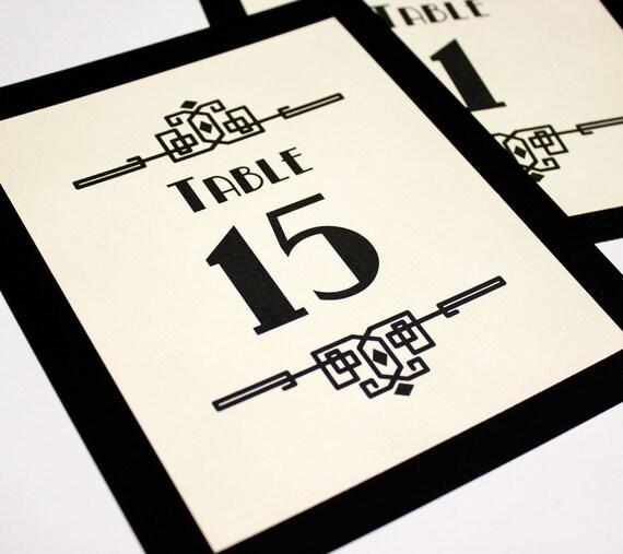 Deco Craftsman Table Numbers Wedding Decor Sign Custom Art Gatsby Roaring Twenties Classic Historical