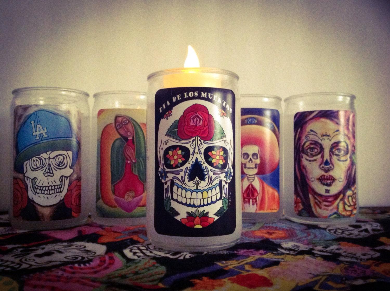 Small candle Sugar Skull Day of the dead Dia de los