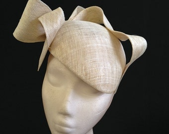 Ivory & Gold Bow Beret - Great hat for Bridal, Wedding guests and the Races can be made in other colours