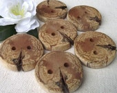 6 Spalted Dogwood Wooden Tree Branch Buttons - Wood Buttons - 1 1/2 inches, 2 Holes, For hand knits, journals, and pillows