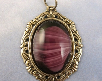 Vintage Glass Pendant 38x30 mm Purple Cabochon in Silver setting 2 sc