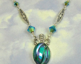 Green Silver Necklace Art Deco Vintage Glass Sterling Silver 1920s jewelry 661