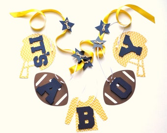 Football baby shower decorations yellow and blue chevron it's a boy banner by ParkersPrints on Etsy
