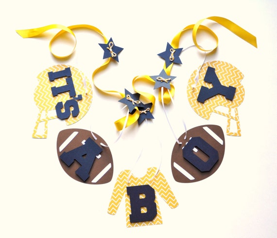 football baby shower decorations yellow and blue chevron it 39 s a boy
