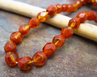 Autumn Leaf Faceted Firepolished 6mm Beads