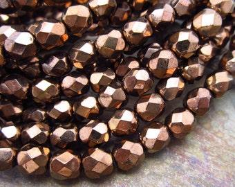 Metallic Coffee Faceted Fire Polish 6mm Czech Glass Beads