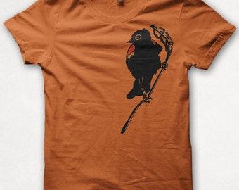 SALE Mens Tshirt Redwing Blackbird Graphic Tee Bird Shirt Forest and Fin - Rust