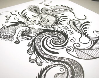 Chaotic . Original Pen Drawing . Abstract Pen Drawing . Black and White Art