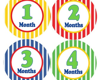 Monthly Milestone Stickers Baby Month Stickers Baby Boy Blue Green Red Yellow First Year Month Stickers Baby Shower Gift Photo Prop - Ted-T