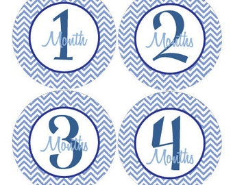 Baby Month Stickers Baby Boy Monthly Milestone Stickers Navy Blue Damask First Year Boy Month Stickers Boy Baby Shower Gift - Camden