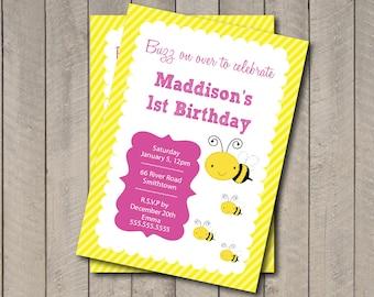 Bee Birthday Party Invitation - Bee Invitation - Digital Printable Invite - Yellow & Pink Happy Bee Day