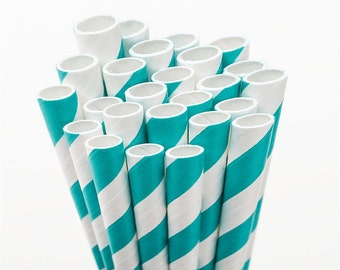 Bulk Turquoise Paper Straws - Made in the USA - 600 Blue and White Striped - Drinking Straws - Aqua Blue Straws - Great for Weddings!