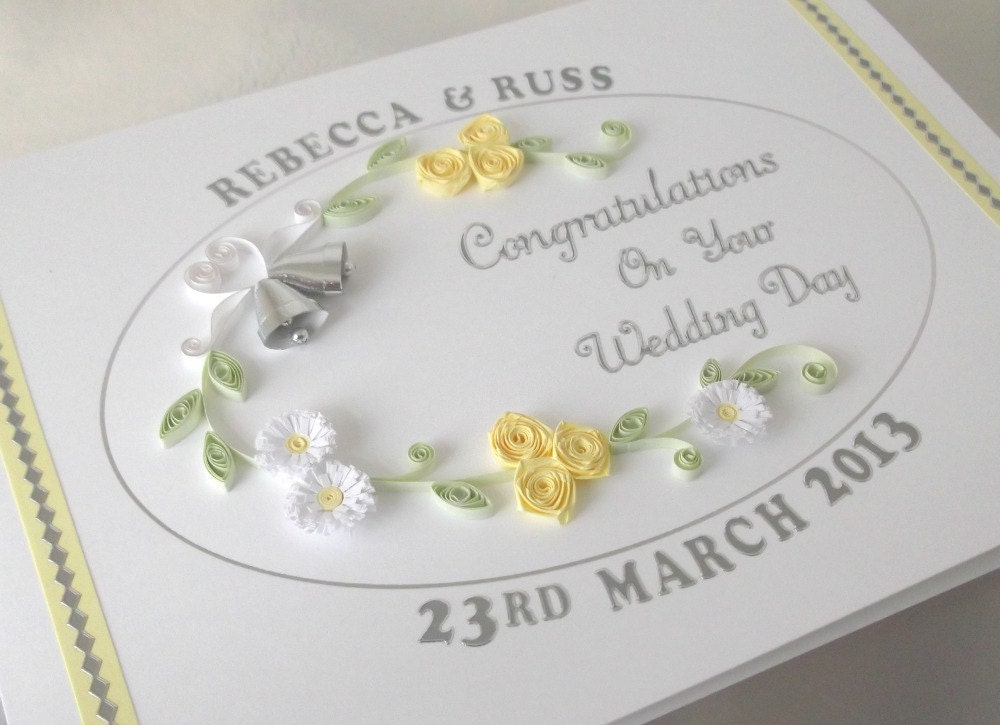 Paper Quilling Wedding Card Congratulations Handmade Greeting Personalized With Names And Date