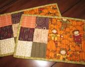 Set of 2 Mug Rugs - Pumpkin Pickin'