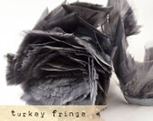 GREY - Turkey Fringe Feathers - soft, flat tipped, feather trimming