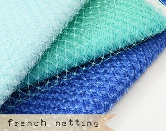 Shades of Ocean Blue - French Netting - 1 Yard - Millinery Hat Veiling, birdcage veil, feather fascinator