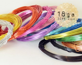 30ft - 18ga - Aluminum Craft Wire - 9.2m - wire wrapping, jewelry, crafts, floral designs