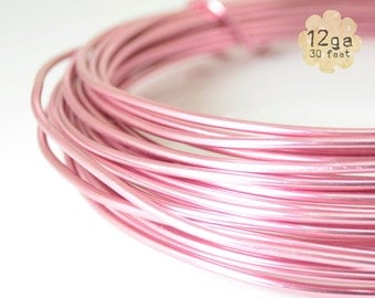 30ft 12ga Aluminum Craft Wire - 12 gauge, 9.2m, wire wrapping, jewelry, crafts, floral designs - ROSE