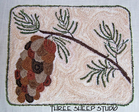 Punch Needle Pattern Winter Pine PN512 By ThreeSheepStudio
