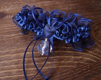 D20 dice garter gamers wedding bridal accessory geek rpg elf runes elvish polyhedral dice blue
