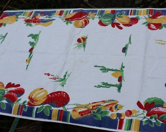 Tea Towel Kitchen Southwest Mexican design Fruit Cactus VINTAGE by Plantdreaming