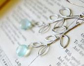My Family Tree  - Silver Branch Earrings - Aqua Chalcedony Gemstone - Personalize Gemstone - Silver Gemstone Necklace - Tree Earrings