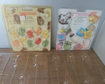Vintage 1991 Wilton Candy Molds. Set of Plastic Soap Molds. Vintage Hobby Supplies. Mint Molds Party Supplies