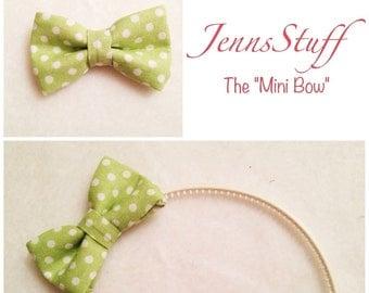 Green with White Polka Dots - Mini Hair Bow