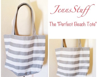 The Perfect Beach Tote - Grey and White Stripes