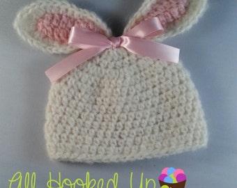 Baby girl hat, Crochet newborn hat, infant hat, Crochet Newborn Bunny Hat, Newborn Baby Hat, Bunny Hat, Photo Prop, Baby Girl, Baby Boy