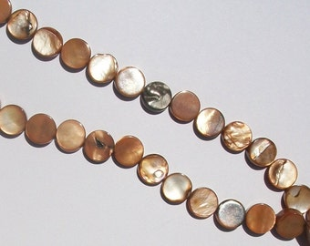 Mother of Pearl (MOP) Round flat coin 10mm Shell Beads BROWN