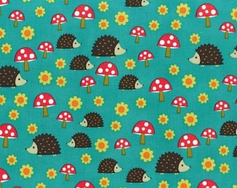 1 yard - Headgehoglets in Teal, Michael Miller fabrics