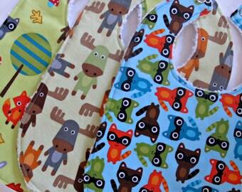 Baby Bibs, Set of 3, Baby Boy Bibs, Woodland Pals, Moose, Raccoons with White Chenille- Custom Designer Bibs