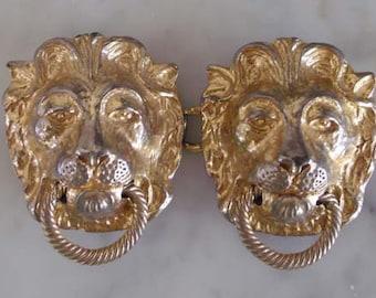 Mimi Di N Lions Head Belt Buckle Lions Head Door Knocker   Vintage Belt Buckle