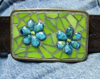 Stained Glass Mosaic Belt Buckle, Lime Green with Blue Flowers, Retro Hippie, Mod Flowers, Rectangular, Gold Tone