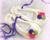 Ballet Flats, Shoes, Ivory, Orange, Lime Green, Purple, Hot Pink, Wedding, Bridal, Lace Up, Flower Girl, Ballerina Slippers, Lace, Crystals