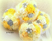 Bridesmaids Bouquets, Yellow, Silver, White, Brooch Bouquets, Maid of Honor, Pearls, Crystals,Elegant Wedding, Vintage Style, Garden, Summer
