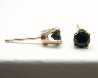 Black Spinel 14K Gold Stud Earrings - Solid 14K Gold - Gold Earrings - 3 mm - Post Earrings - Black Spinel Earrings