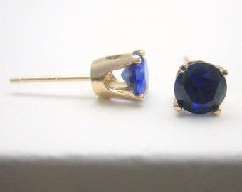 Sapphire 14K Gold Stud Earrings - Gold Earrings - 3 mm 4 mm 5 mm - Post Earrings - Sapphire Earrings - Birthstone Earrings - Solid 14K Gold