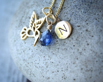 Gold Blue Kyanite, Bird Charm, & Personalized Initial Charm Necklace - Cobalt Blue