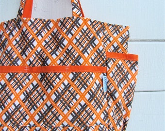 Gertrude's Harvest Plaid Upcycled Weekender - Orange and Brown Mid Century Print Market / Diaper Bag - Eco Friendly Fall Fashion - Under 50