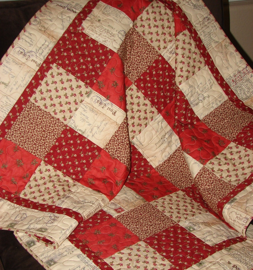 Christmas Patchwork Quilt In Red And Cream With Moda S