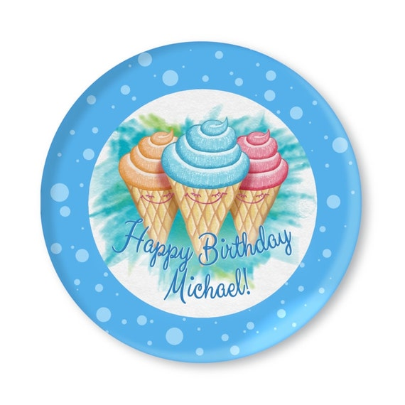 Child Custom Birthday Plate - Ice Cream Cone Illustration - Always room for dessert - Pink, Blue, or Green